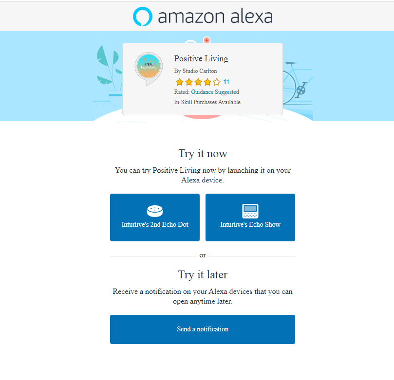 Positive Living Alexa Skill Quick Link
